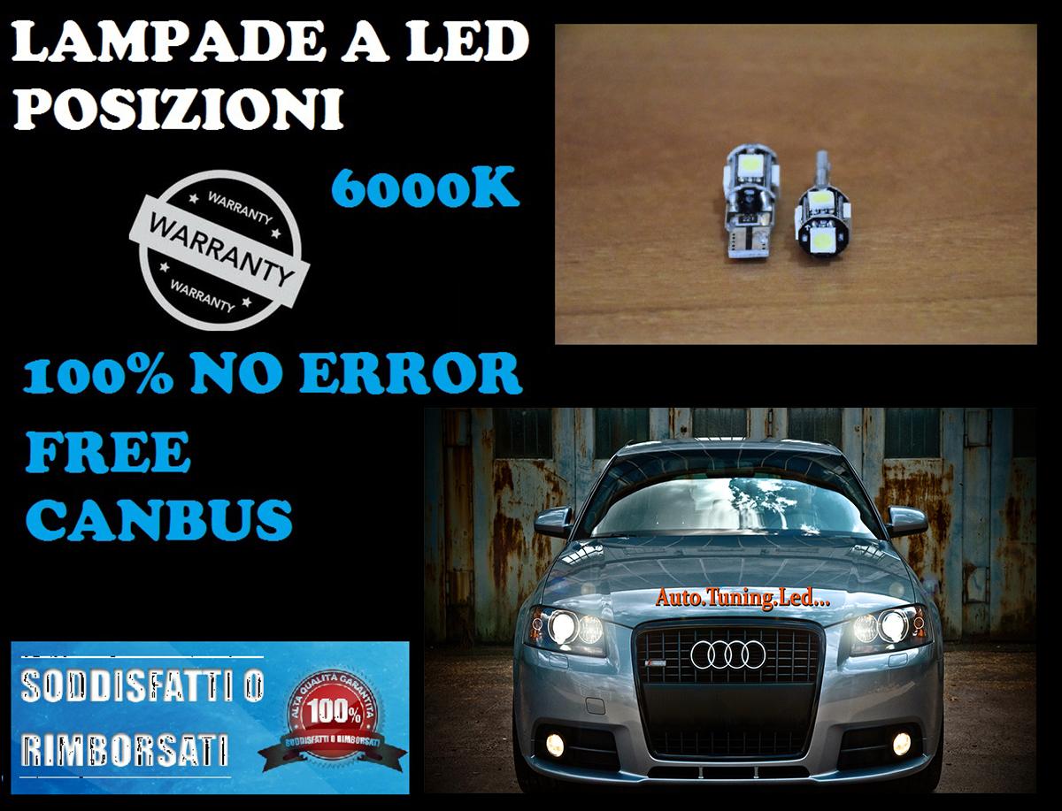 VW NEW BEETLE 2011- LUCI POSIZIONE TARGA INTERNO A 5 LED T10 SMD BIANCO GHIACCIO