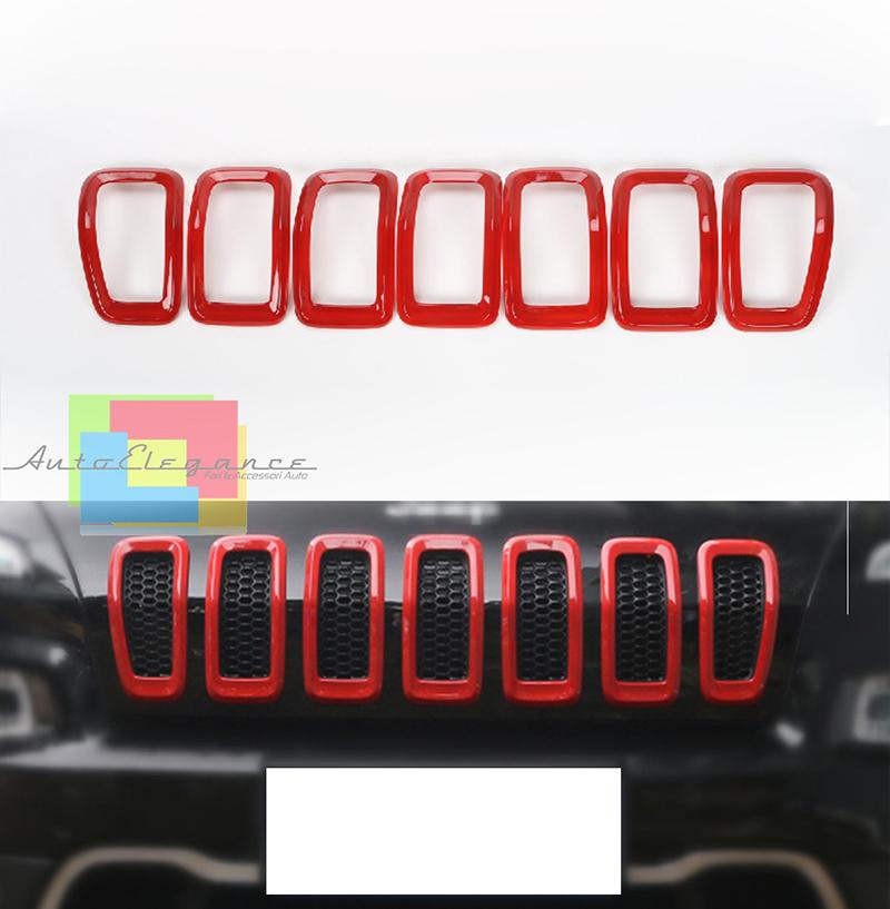 3 pezzi Inserti in ABS per griglia centrale anteriore